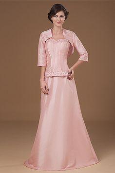 Sheath Pink Taffeta Strapless Floor-Length Dress