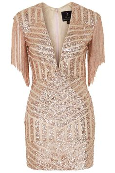 **Plunge Fringe Sequin Mini Dress by Rare
