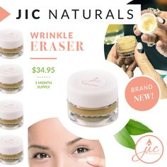 Goodbye, wrinkles! Instantly take years off your skin's appearance with JIC Naturals' Wrinkle Eraser. Made with natural and plant-based ingredients, our wrinkle eraser will reduce the appearance of pores, revive your skin for a more youthful look, diminish the signs of aging, and help reduce dark circles and puffiness under the eyes minutes after applying.  www.SweetCandlelight.com