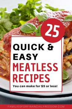 These are great ideas for cheap meals! Find 25 quick cheap meatless recipes for a tight budget! These are easy cheap meals for families or for a crowd or large group! Great cheap recipes for college students. Easy vegetarian recipes. #recipes #dinner #dinnerrecipes #easydinner #easydinnerrecipes #familydinner #cheapdinners #cheapmeals #meals #savemoney #money #finance #family #save #frugal #budget #30minutemeals #easyrecipe Cheap Meals For 5, Cheap Recipes, Cheap Dinners, Cheap Food, Budget Family Meals, Frugal Meals, Quick Easy Meals, Money Saving Meals, Save Money On Groceries