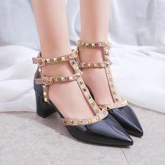 Buy Charming Kicks Studded T-strap Pumps | YesStyle
