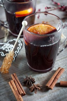 Mulled wine is a beverage usually made with red wine along with various spices. It is served hot or warm and may be alcoholic or non-alcoholic (Grape juice). It is a traditional drink during winter, especially in Alsace (East of France, near Germany) at the Christmas Market. Spices include raw vanilla, cinnamon, cocao nibs, cloves, cardamom, with a slice of citrus. Can be warmed in a crock pot.