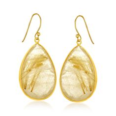 Sterling Silver Yellow Gold Plated Golden Rutilated Quartz Teardrop Earrings