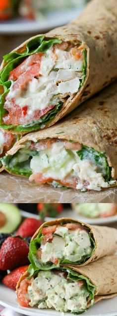 This Avocado Ranch Chicken Salad Wrap recipe from Spend With Pennies is loaded with flavor for a deliciously lighter version of a typical chicken salad! It's layered with your favorite veggies like lettuce, tomatoes, alfalfa sprouts, and sliced cucumbers!