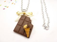 collier tablette de chocolat en fio cornet de glace sautoir bijou gourmand : Collier par kintcreations