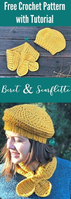 Free women's beret crochet pattern | beret and scarflette pattern free | women's neck tie | free crochet pattern women's set | beret hat crochet pattern | scarf free pattern | crochet hat free