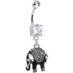 Clear Gem Black Mystic Elephant Dangle Belly Ring | Body Candy Body Jewelry #bodycandy #bodyjewelry