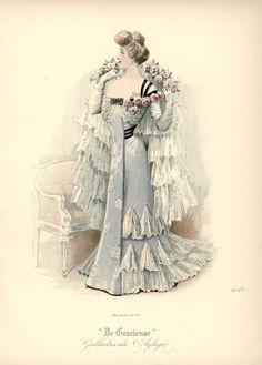 Evening dress, Netherlands, 1901, De Gracieuse