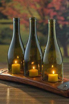 Easy & Unique DIY Pallet Projects Ideas for Home Decor ~ Home Design Ideas Empty Wine Bottles, Wine Bottle Art, Glass Bottles, Wine Bottle Candles, Wine Bottle Windchimes, Cutting Wine Bottles, Wine Carafe, Wine Bottle Holders, Bottle Lights