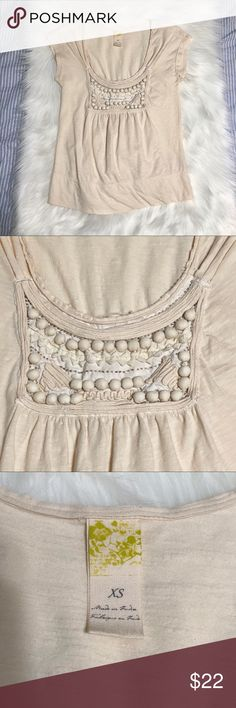"Anthropologie C. Keer Cream Embellished Top Sz XS Anthropologie C. Keer Cream Embellished Top Sz XS. 100% cotton. Gently used condition. Cap sleeve design.   Pit to pit: 15.5"" Shoulder to hem: 22.5"" Anthropologie Tops Tees - Short Sleeve"