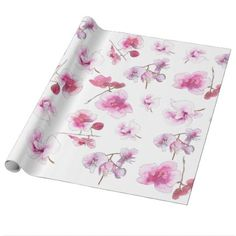 Delicate pink orchids inwatercolors wrapping paper - wrapping paper custom diy cyo personalize unique present gift idea