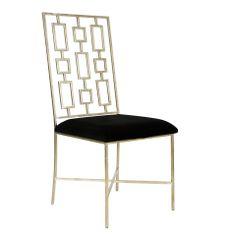 David Silver leafed Dining Chair w. Black Velvet Seat  #WorldsAway