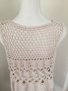 Nice long crochet vest Crochet from a blend of cotton, viscose, linen Color: sand/light beige  Washing instructions: wash and dry