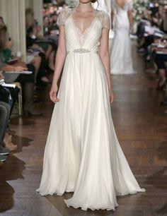 Cap Sleeves Lace Chiffon Wedding Dress Vneck See von harsuccthing, $179.00
