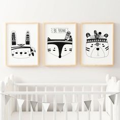 Set of 3 Boys Monochrome Tribal Nursery Prints. Fox, Bear