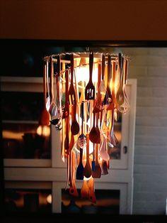 wooden spoon chandelier