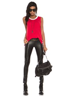 LNA Binger Sleeveless in Red
