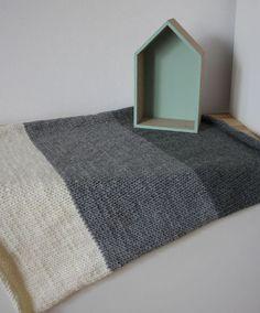Knit Baby blanket. Reversible. Baby travel blanket. by CreamKnit