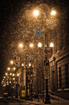 Christmas on Main Street in Winnipeg, Manitoba by Carla Dyck