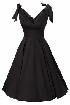 Neue Kollektion! Das50s Tie Me Up dress in Black sateenvon Deadly Damesby Micheline Pitt. Prächtiges Festkleid mit einem verführerischen Überschlagtop.  Die Schnürbänder an den Schultern macht das Kleid passend für jede Körbchen Größe. Das Top ist mit Stretch Charmeuse gefüttert für die perfekte Passform. Der volle Tellerrock ist vervollständigt ...