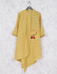 Shop Yellow color checks pattern cotton kurti online from India. New Saree Blouse Designs, Kurta Designs, Kurta Cotton, Kurta Patterns, Kurta Neck Design, Fancy Tops, Kurti Designs Party Wear, Embroidery Suits, Short Mini Dress