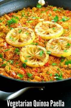 Vegan Gluten Free Quinoa Paella Recipe - Quick and easy to make, full of flavor, healthy and a plant based protein.