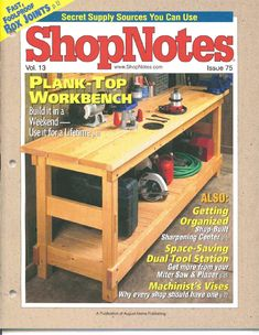 Shopnotes issue 75 by Adrian Kuney - issuu Furniture Projects, Wood Projects, Projects To Try, Miter Saw, Woodworking Books, Hobbies And Crafts, Getting Organized, Plank, Space Saving