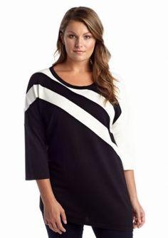 New Directions  Plus Size Colorblock Stripe Tunic