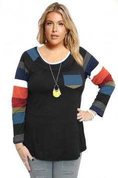 0adb3099a6d7b Autumn Chill Top With Front Pocket   Striped Contrast Sleeves In Black. Plus  Size Me