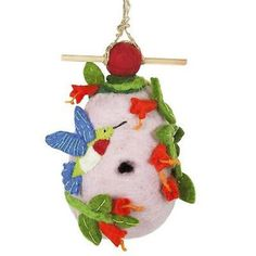 Whether you have hummingbirds or not you can now with this fun Felt Birdhouse - Hummingbird design from Wild Woolies ArtisansExchange.org