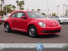 2013 Volkswagen BEETLE 2.5 PZEV - Lunde's Peoria Volkswagen www.peoriavw.com Fair Market Price Dealer. MSRP: $21,515   Fair Market Price: $20,986           Body style: Not Specified   Mileage: 12   Engine: 5 Cyl. 2.5L   Trans: 6 Speed Automatic   Exterior Color: Tornado Red   Interior Color: Titan Black   Stock: DM603391   VIN: 3VWJP7AT6DM603391