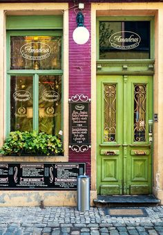 Solve Amadeus Restaurant, Ghent, Belgium jigsaw puzzle online with 48 pieces Store Concept, Restaurant Door, Lokal, Shop Fronts, Shop Around, Doorway, Cottage Chic, Windows And Doors, Porches