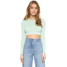 Ronny Kobo Oli Ribbed Crop Top ($190) ❤ liked on Polyvore featuring tops, seafoam, snug top, torn by ronny kobo, long sleeve tops, torn by ronny kobo top and long sleeve crop top