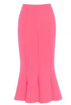 Pink Ribbed Panelled Skirt Front