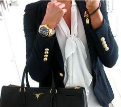 Brass button blazer & bow shirt with Prada black handbag : classic work wear look