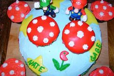 My son wanted a Mario and Luigi cake for his birthday!  This would be so cute with more cupcakes around it.  And less messy too!