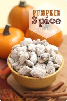"Pumpkin Spice Buddies - "" I seriously just found the BEST fall snack ever invented. They are so easy and addicting. These are made with cinnamon chex mix and oh my. These are good! Pumpkin Recipes, Fall Recipes, Holiday Recipes, Snack Recipes, Dessert Recipes, Dessert Healthy, Chex Mix, Fall Snacks, Fall Treats"