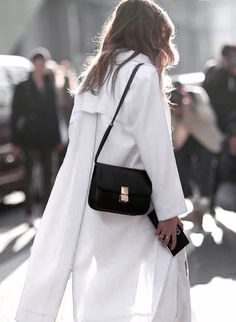 white trench coat & black Celine bag #style #fashion #streetstyle
