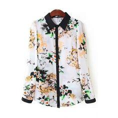 USD9.99Casual Turndown Collar Long Sleeves Patchwork Floral Print Chiffon Shirt