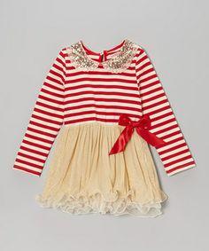 Loving this Red Stripe Sequin Collar Tutu Dress - Toddler & Girls on #zulily! #zulilyfinds