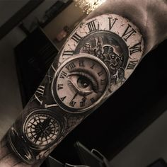 Perfect black and grey tattoo works of Clocks motive done by tattoo artist Jorge Lange from Brazil