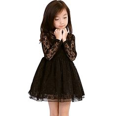 EGELEXY Little Girls Romantic Long Sleeve Princess Dress Medium Black >>> Click on the image for additional details.