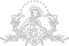 Woman and Flowers Embroidery Pattern