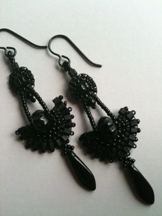 Earrings:  Black Seed Bead Circle & Fan with Dagger Drop, Victorian Inspired, One of a Kind. $55.00, via Etsy.
