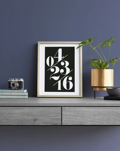 """""""Serif Date Memento"""" by Baumbirdy in beautiful frame options and a variety of sizes. The perfect gift for him."""