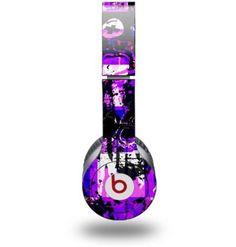 Purple Graffiti Decal Style Skin (fits Beats Solo HD Headphones - HEADPHONES NOT INCLUDED)