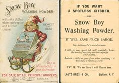 """An 1898 advertising card for Snow Boy Washing Powder. """"Like"""" if you love playing in the snow!"""
