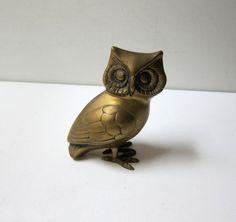 Vintage retro collectible brass owl figurine