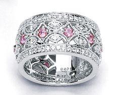white gold wide diamond womens band | ... Pink Sapphire & Diamond Wide Band Anniversary Ring 18K White Gold