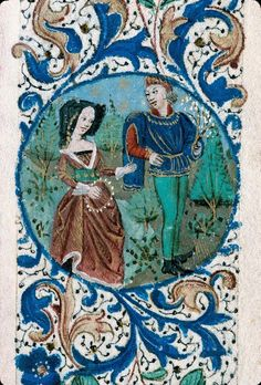 Foliate-border-with-a-medieval-couple-Book-of-Hours-for-the-use-of-Rouen-France-ca.-1460-1470.jpg (736×1087)